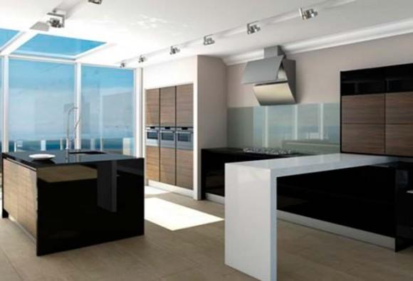 matt dark olive-wood linear kitchen