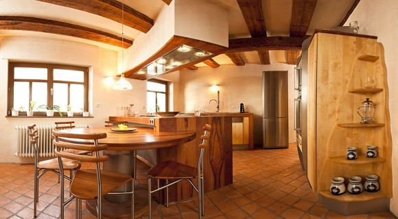 solid wood kitchen with island