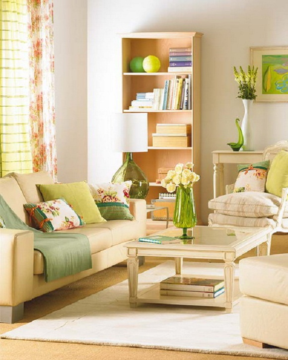 green spring in living room