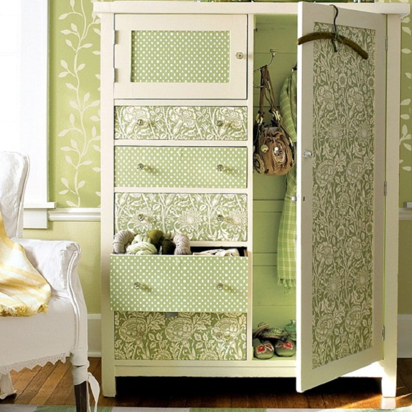 update your cabinets with wallpapers interior design