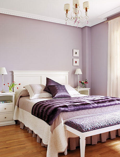 purple and lilac colors in bedroom