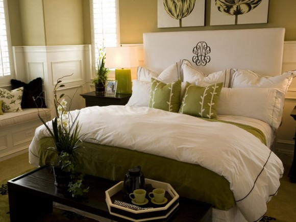 green and white colors in bedroom