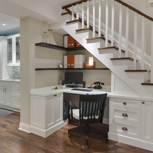 corner home office workstation under staircase