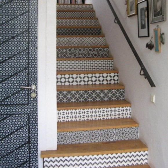 decorating staircase using moroccan tile designs