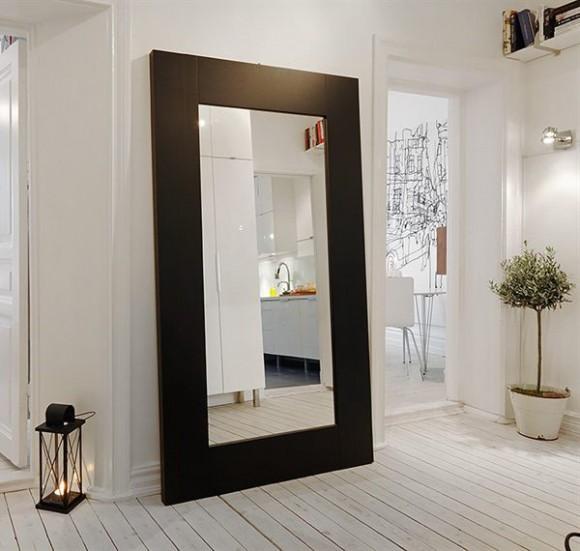 decorating hallway with floor hugging mirror