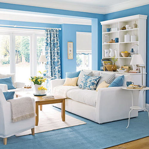 Living Room Interior Design: Bringing Blue In The Living Room