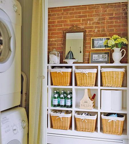 bathroom smart storage in wicker baskets