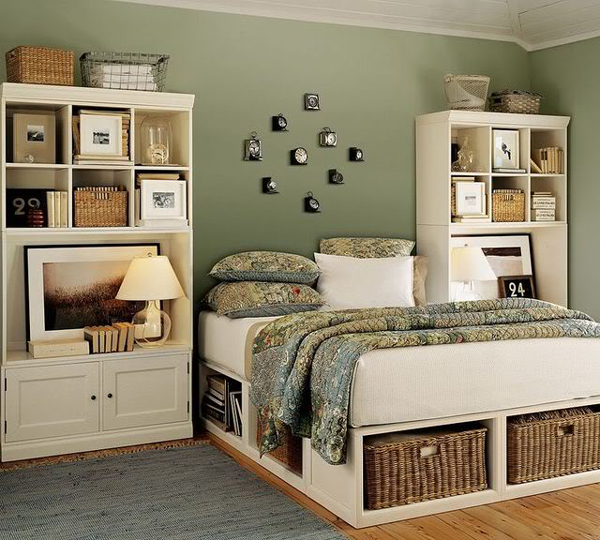 bedroom smart storage in wicker baskets