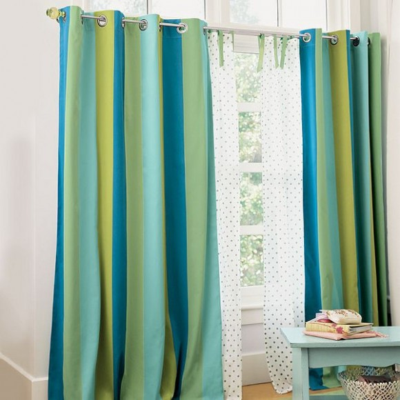 blue and green curtain