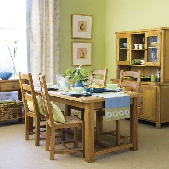 dining room green and brown combo