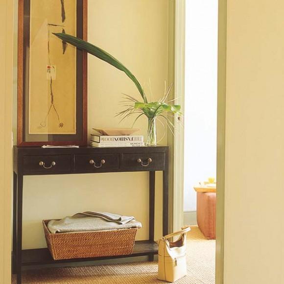 hallway smart storage in wicker baskets