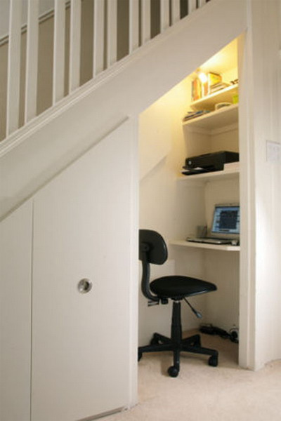 home office under stairs
