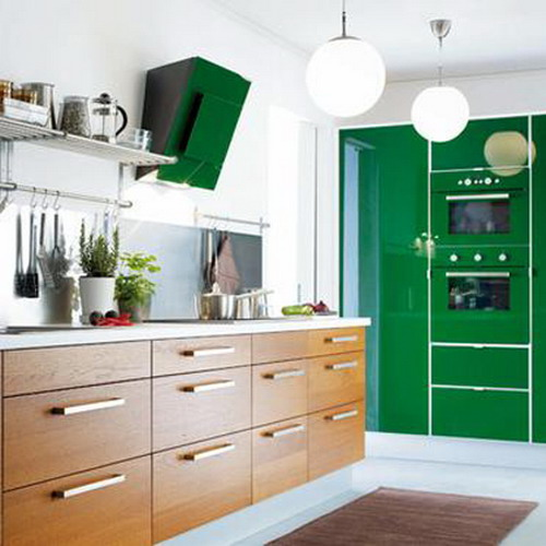 kitchen green and brown combo