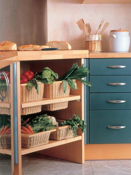 kitchen smart storage in wicker baskets
