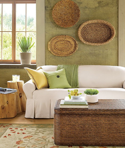living room green and brown combo