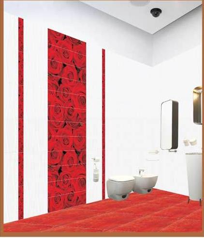 rose inspired pattern in bathroom