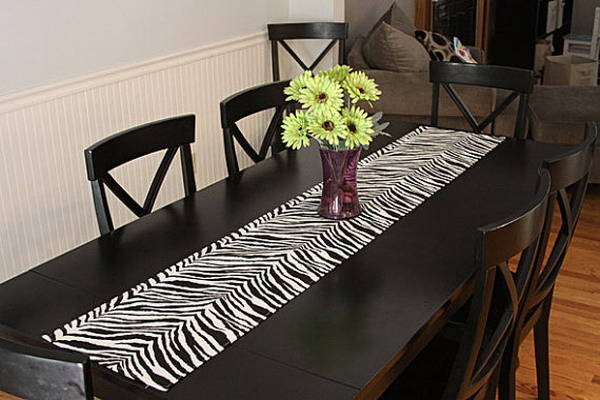 More ideas on using the zebra print for the interior Dining room table runner ideas