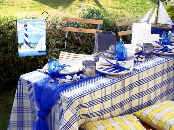Outdoor Patio Tablecloth Summer Table Ideas For The Garden And Terrace  Interior .