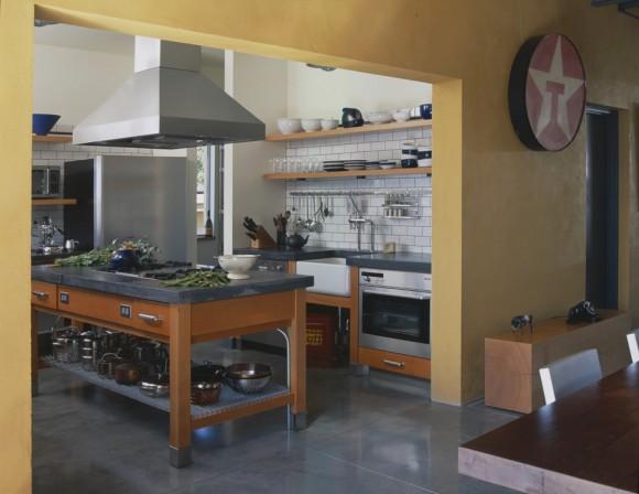open shelving industrial kitchen