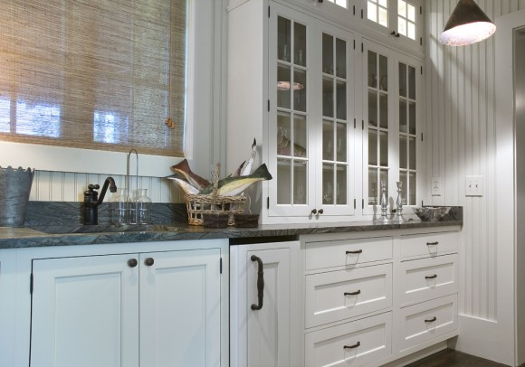 traditional kitchen with display and drawers