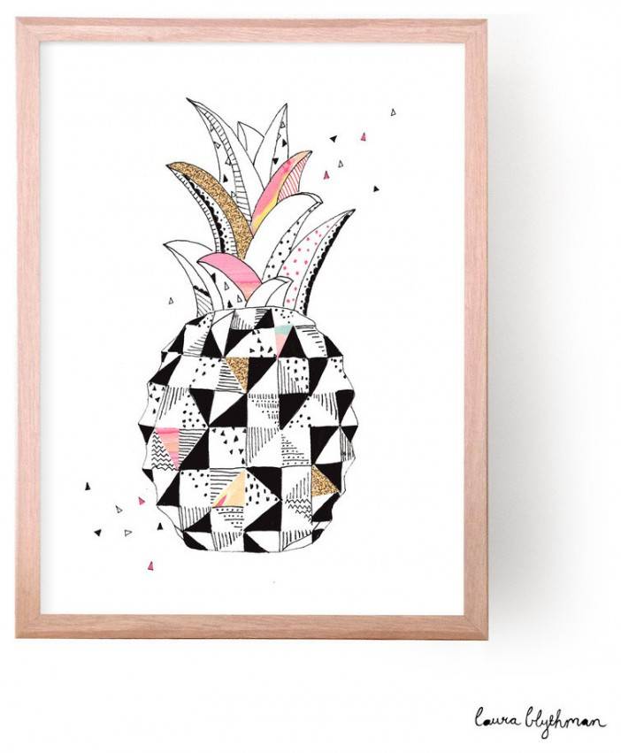 contemporary pineapple love prints by laura blythman