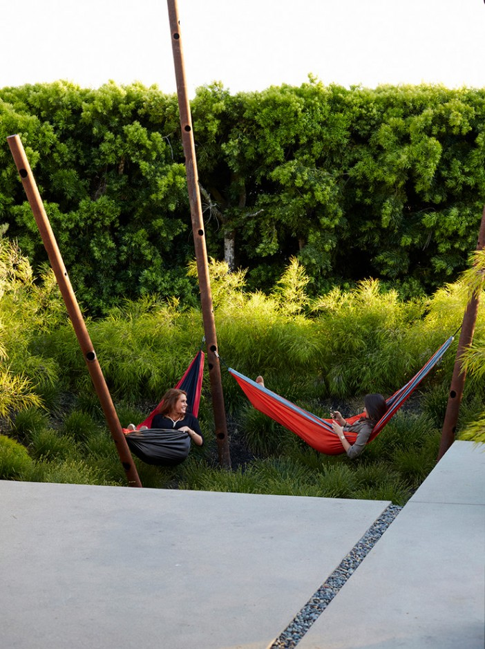 hammock for two in contemporary landscape