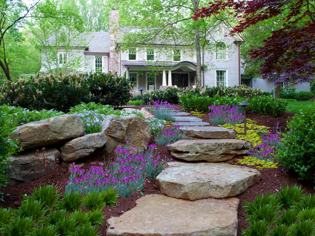 front yard stepping traditional house landscaping ideas